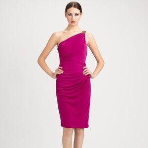 David Meister One Shoulder Cocktail Dress
